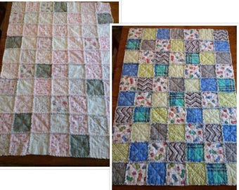 NEW! Crib size handmade FLANNEL rag QUILT for boy or girl - pink/gray/white or blue/green/gray - Perfect baby shower gift!!