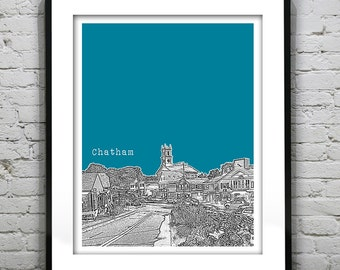 20% OFF Memorial Day Sale - Chatham Cape Cod Skyline Poster Art Print  Massachusetts MA Version 1