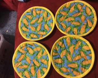 machine and insulated quilted Corn potholders