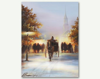 Oil Painting , Oil on Canvas  , Cityscape oil painting by Alena Ramanava , Ready to hang Fine art painting Wall art painting , Pallet Knife