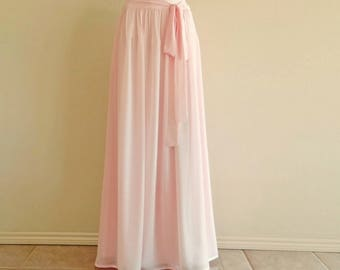 Blush Pink Maxi Skirt.Blush Pink Bridesmaid Skirt. Chiffon Floor Length Skirt.