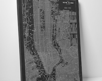 LARGE New York City Canvas Art, NYC Canvas Map, Vintage New York City Map, New York City Print Art, NYC Wall Art, New York Wall Art Canvas