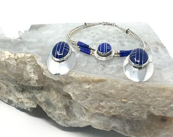 Set of Vintage Sterling Silver and Lapis Lazuli Inlay Post Earrings and Liquid Silver Bracelet