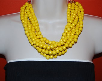 Yellow Statement Necklace Chunky Yellow Wood Beaded Necklace Bold Multi-Strand Wedding Jewelry Bridesmaids Necklace