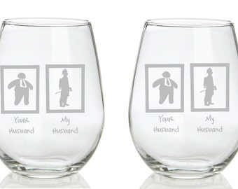 Your Husband, My Husband Firefighter Glass  Funny FREE Personalization