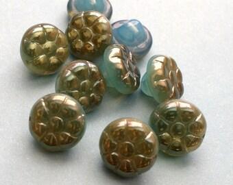 Czech Glass Flower Button Beads, Czech glass beads - glass flower beads, blue luster 6x12mm pack of 10