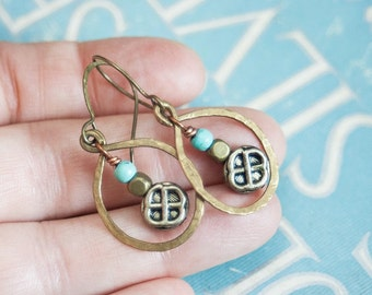 Celtic Mixed Metal Earrings with Turquoise Celtic Knot Earrings Boho Style Copper and Brass Earrings