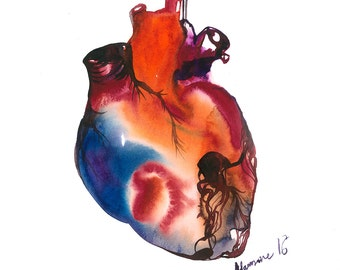 Anatomical Heart watercolor painting - digital print. A4, A3, 8x11, 11x16 Watercolour picture. Unusual Valentine's day gift. Love art.