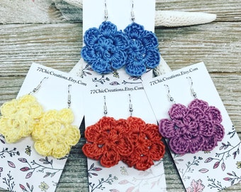 Light weight and colorful crocheted flower earrings perfect for spring!