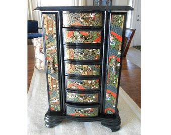 Large Black Wood Jewelry Box, Large Black Wood Jewelry Armoire,  Oriental Influenced Jewelry Box