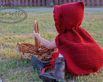 Little Red Riding Hood Cape Halloween Costume For Baby Girl Toddler Photography Prop