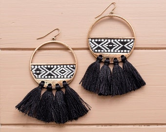White and Black Embroidered Fringe Earrings