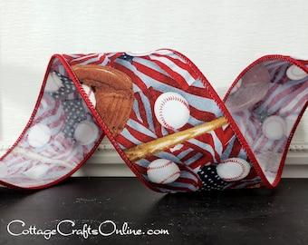 "Wired Ribbon, 2 1/2"", Baseball Glove, Bat, American Flag Print - Ten Yard Roll -  ""Baseball Flag"" Cotton Spring, Summer Wire Edged  Ribbon"