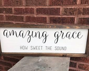 Amazing Grace, framed wood farmhouse sign