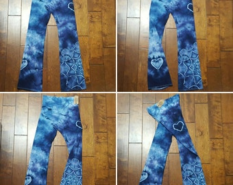 Yoga Pants, Large Size, Women's yoga pants, Tie Dye Yoga Pants, Royal Apparel, Cotton Boho Pants, Bohemian, Festival pants, workout pants