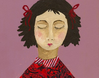 Girl with red ribbons- acrylic/collage art print