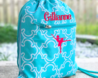 4 colors- Ballet Bag, Teal Drawstring Backpack, Dance Bag, Cinch Bag, Personalized Drawstring Bag, Girl Gym Bag, Cinch Sack, Girls Dance Bag