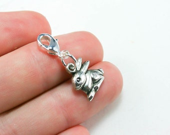 Easter Bunny Charm. Silver Rabbit Charm. Easter Charm. Kids Bunny Rabbit Charm for Easter. SCC224