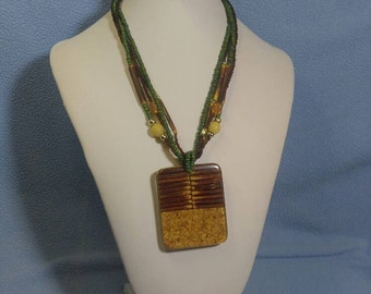 Unusual Multi Strand Bead Necklace with Fabulous Lucite Pendant