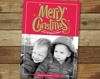 Whimsical Christmas card, photo holiday card, Merry Christmas photo card, printed cards or printable card
