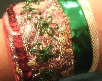Red and Green Hand Sewn and Beaded Ribbon Holiday Cuff