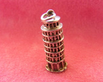 E) Vintage Sterling Silver Charm Leaning Tower of Pisa - Italy