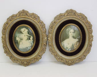 Vintage Pair of Royal Lady Prints in Old Gesso Frames with Convex Glass