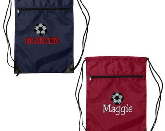 Soccer Drawstring Backpack. Liberty Bags - Denier Nylon Zippered Drawstring Backpack -  Embroidered Drawstring Backpack. SS- 8888