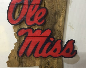 Ole miss rebels wooden sign