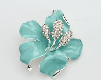 Aqua Blue Hibiscus Brooch Flower Brooch Rhinestone Light Blue Hibiscus Flower Brooch Wedding Jewelry Bridal Brooch Ocean Blue Brooches