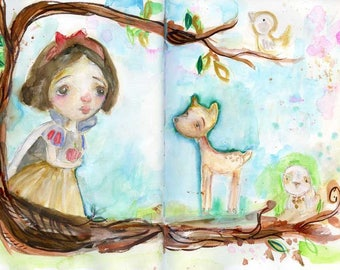 Snow White - mixed media art print by Mindy Lacefield