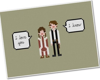 Han & Leia - The *Original* Pixel People Quoteables - PDF Cross-stitch Pattern - INSTANT DOWNLOAD