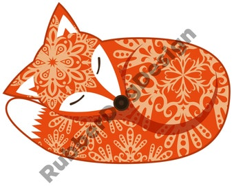 Fox Sleeping Ornate Design - Digital Clip Art Graphics for Personal or Commercial Use