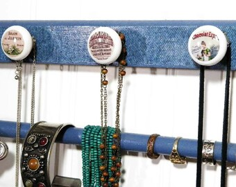 """2-Tiered Blue Denim Necklace & Bracelet Organizer with Bracelet Bar and 4 Knobs. Available in 12, 16 or 19"""" to Accomodate Your Collection"""