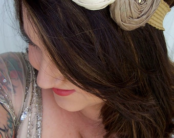 Adult Creme Headband, Cream and Sand With Pearls and Crystals on Elastic - Fabric Flower Rosette Headband Photo Prop Tweens to Adults - 153