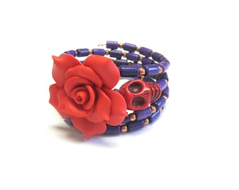 Purple Copper Sugar Skull Bracelet Day Of The Dead Wrap Red Rose