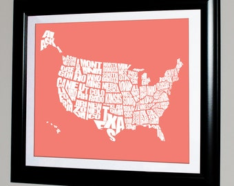 USA Word Map - Typographical US Stencil Map, Personalized with Custom Colors, Variety of Sizes Available, Home Decor and Gift Ideas