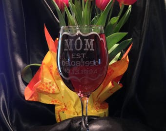 Mom Est. Wine Glass