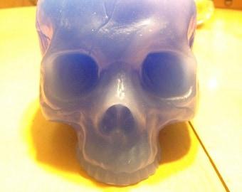 Light blue skull candle