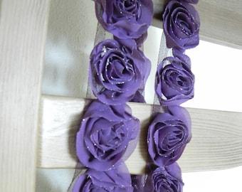 Chiffon and tulle rose trim, amaranth deep purple, 20 roses