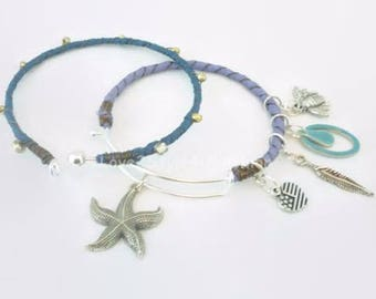Starfish Bracelet - OPENABLE Bangle Set - Silk Wrapped Bangles - Summer Bracelet - Charm Bracelet - Bohemian Bracelet - Bohemian Jewelry