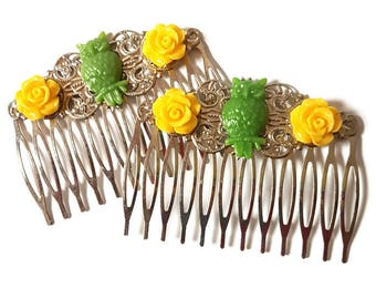 Owl Hair Combs-Bird Hair Combs-Lemon Lime-Green Hair Combs-Owl Bobby Pins-Owl Hair Slides-Owl Hair Clips-Yellow Rose Clips-Set of 2-Bridal