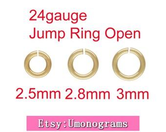 2.5mm,2.8mm,3mm Outside Diameter Open Jump Rings 24 gauge 0.50mm 14K Yellow Gold Filled Wholesale BULK DIY Jewelry Finddings 1/20 14kt GF