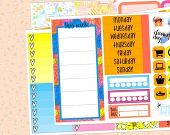 Pool Party Passion Planner Weekly Kit; 4 Sheets   Passion Planner Classic and Compact Stickers