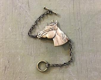 Handmade horse head bracelet // antique oxidized brass bronze // stacking cuff bracelet // equestrian equine derby kentucky gift idea
