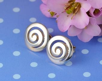 spiral silver stud earrings, spiral earrings, greek earrings, spiral, greek jewelry, spiral studs, spiral jewelry