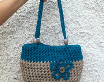 Tote bag in webbing, green-80s and beige, crochet