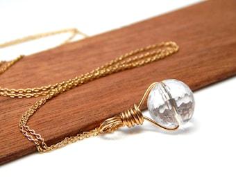 Quartz Necklace, Everyday Simple Gold Quartz Pendant