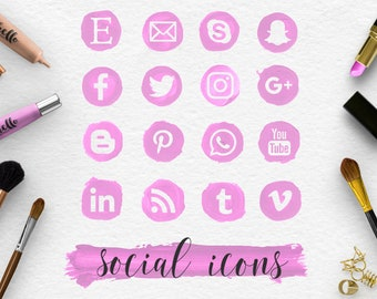 FOLLOW ME, Pink Social Media Icons & Brush Stroke, Handpainted Violet Spots, Makeup Round Social Icons, Transparent PNG Files, BUY5FOR8