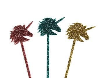 Unicorn Glitter Drink Stirrers, Set of 6 Laser Cut Acrylic Swizzle Sticks, Unicorn and Rainbow Party